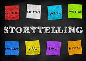 The word storytelling is written on a chalkboard. It is surrounded by Post-it notes with the words content, creative, brand, marketing, experience, viral, share and emotion.