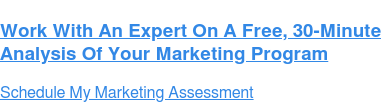 Work With An Expert On A Free, 30-Minute  Analysis Of Your Marketing Program Schedule My Marketing Assessment