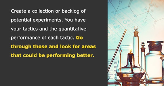 Create a collection or backlog of potential experiments. You have your tactics and the quantitative performance of each tactic. Go through those and look for areas that could be performing better.